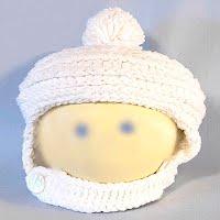 Vintage Hand Knitted White Helmet Hat
