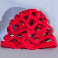 Vintage Hand Knit Red Cloche Hat
