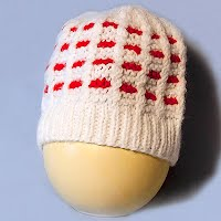 Vintage Hand Knit White and Red Checkerboard Hat