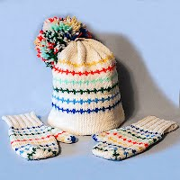 Vintage Hand Knit White Hat with Colorful Stripes and Matching Mittens