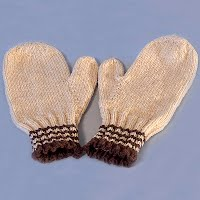 Vintage Hand Knit Tan and Brown Mittens