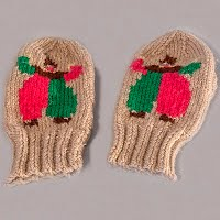 Vintage Hand Knit Tan Clown Mittens, never worn