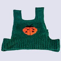 Vintage Hand Knit Dark Green Lady Bug Vest