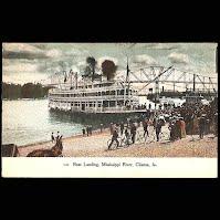 Antique Post Card, Boat Landing Mississippi River, Clinton, Knox Publishing 1909