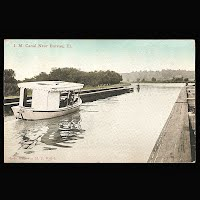 Antique Ship Transportation Post Card, Canal Near Bureau, Ill, Welch Publisher