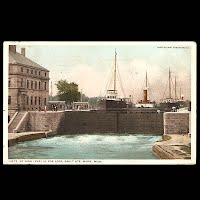 Antique Phostint Ship Transportation Post Card, Poe Lock Sault Ste. Marie, Detroit Publisher