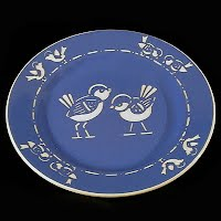 Antique Villeroy and Boch Dresden Saxony blue and white silhouette bird plate