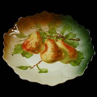 Antique hand painted porcelain pear fruit plate