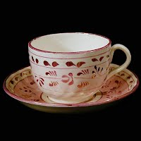 Antique Porcelain Mug pink luster and gold, Charles Allerton and Sons
