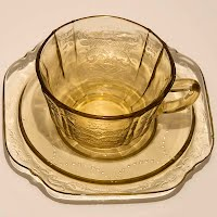 Antique Depression Glass Madrid Amber Cups and Saucers