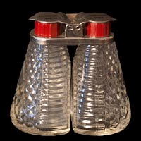 Vintage Depression Glass Double Salt and Pepper Shakers with metal flip lids, Mankato, Minnesota