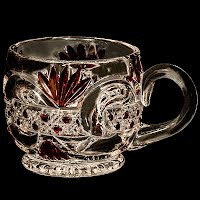 Antique EAPG Scroll with Cane Band Punch Cup, U S Glass