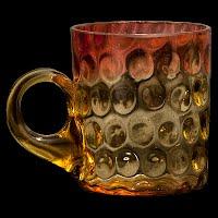 Antique EAPG ruby amber Polks Dot Lemonade Number 509 Cup, Hobbs Brockunier