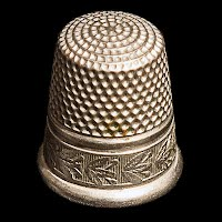 Antique Silver Thimble with Flower Design