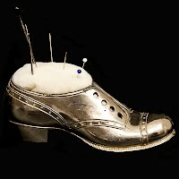 Antique Engraved Silver Man's Shoe Pincushion
