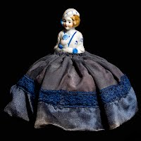 Antique Porcelain Half Doll Pincushion