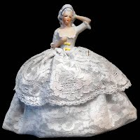 Antique Porcelain Half Doll Pincushion, arm away from body