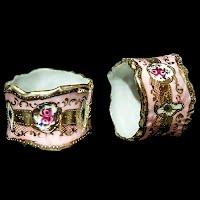 Antique Nippon Porcelain Napkin Rings Holders