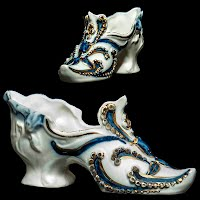 Antique Porcelain Shoe with Blue and Gold Decoration
