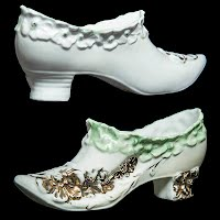 Antique Porcelain Shoe with Green and Gold Decoration