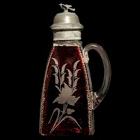 Antique EAPG Zipper Syrup or Molasses Can, ruby stained