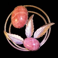Vintage Handcrafted Metal Pink Quartz Stone Pin