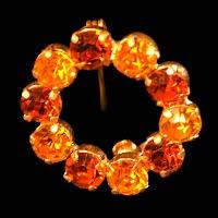 Vintage Amber Rhinestone Round Pin