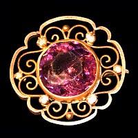 Antique Metal Gold Filigree Pin