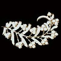 Antique Metal White Leaf Pin