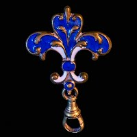 Antique metal enamel Fleur de lis watch pin