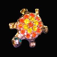 Vintage metal Rhinestone Turtle Pin