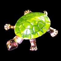 Vintage metal Enamel Turtle Pin