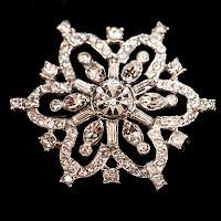 Antique metal Snowflake Rhinestone Pin