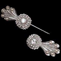 Antique Unusual Plastic Screw Together Rhinestone Pin