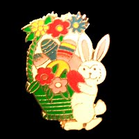 Vintage Enamel Easter Bunny Pin