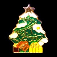 Vintage Enamel Christmas Tree Pin