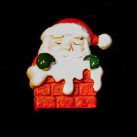 Plastic Santa in Chimney Pin