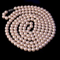 Vintage Faux Opera Length Pearls Necklace