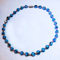 Vintage Blue Muranol Bead Necklace