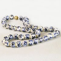 Vintage Blue Delft Bead Necklace