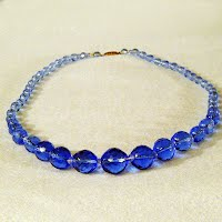 Antique Blue Crystal Bead Necklace