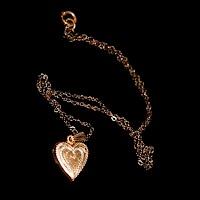 vintage gold heart locket necklace