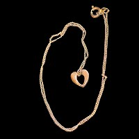 Vintage Open Heart Pendant and Chain, gold tone