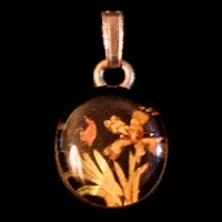 Vintage Flower Pendant, organic pieces in resin