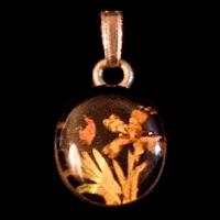 Vintage Flower Pendant, organic pieces in resin