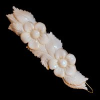Vintage hand carved bone hair clip