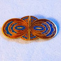 Antique German Belt Buckle, Enamel Butterfly