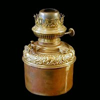 Antique Brass Oil or Kerosene Lamp Font, 1890's