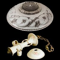 Antique Hanging Porcelain and Glass Light Fixture