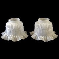 Vintage Glass Ruffled Frosted Light Shades